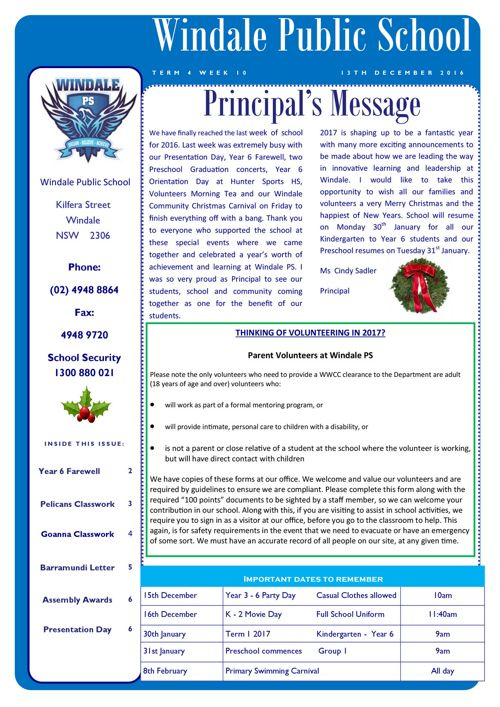 Newsletter Term 4 Week 10