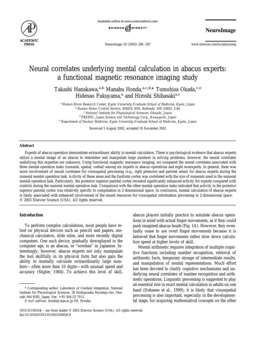 Neural correlates underlying mental calculation in abacus expert