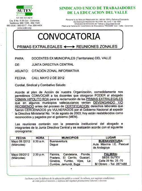 CONVOCATORIA DOCENTES TERRITORIALES