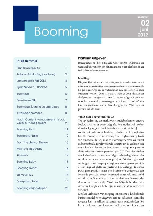 Booming, 2 juni 2012