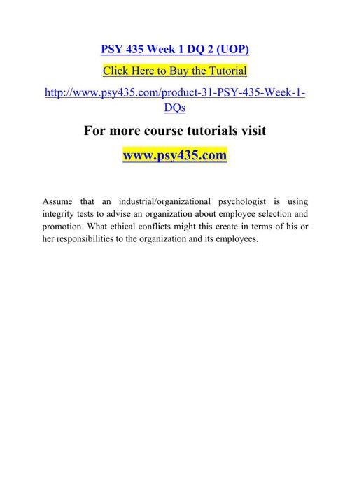 PSY 435 Week 1 DQ 2 (UOP)
