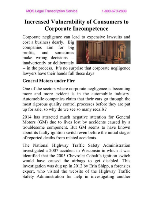 Increased Vulnerability of Consumers to Corporate Incompetence