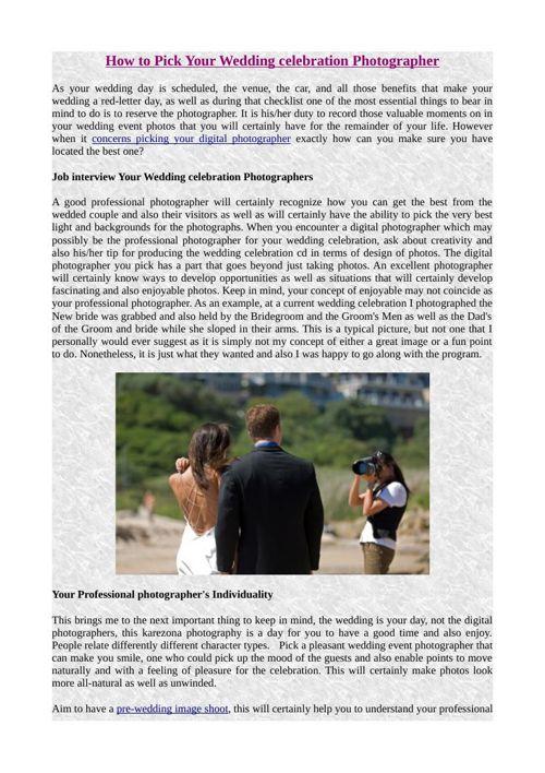 How to Pick Your Wedding celebration Photographer