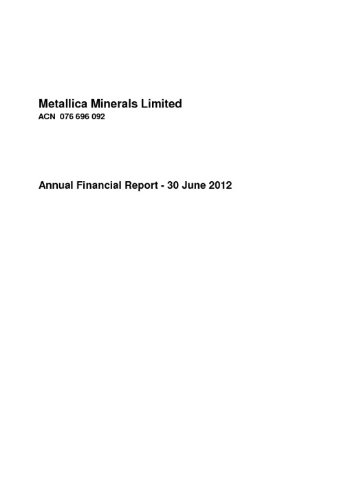 Metallica Minerals Ltd 30 June 2012