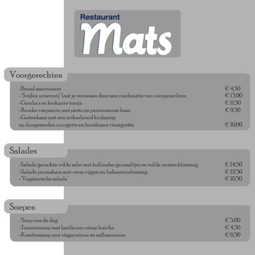 Menukaart Restaurant Mats