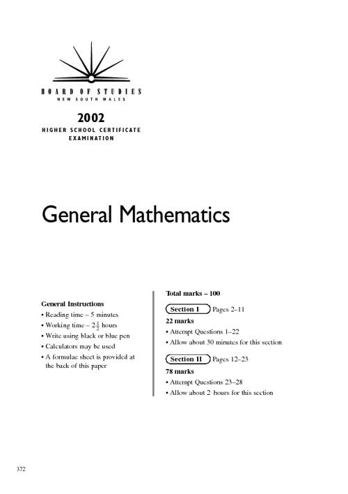 2002 hsc exam parts