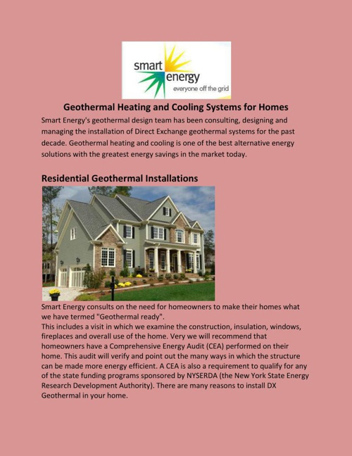 Geothermal Heating and Cooling Systems for Homes