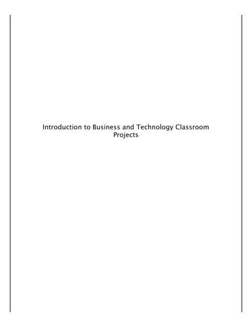Industry Certification Classroom Projects for I.B.T.