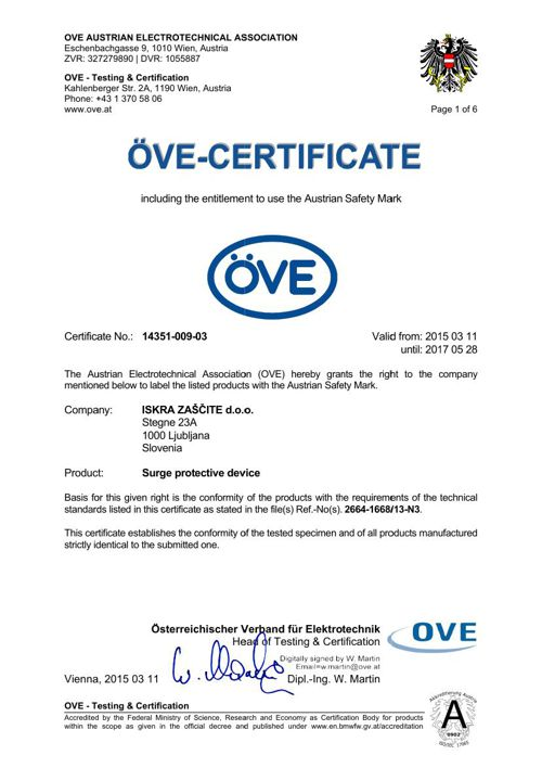 OVE Certificate 14351-009-03 Safetec C - until 2017-05-28