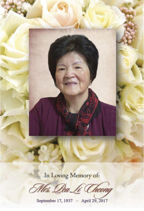 Funeral Service Program for Mrs. Cheong Pea Li