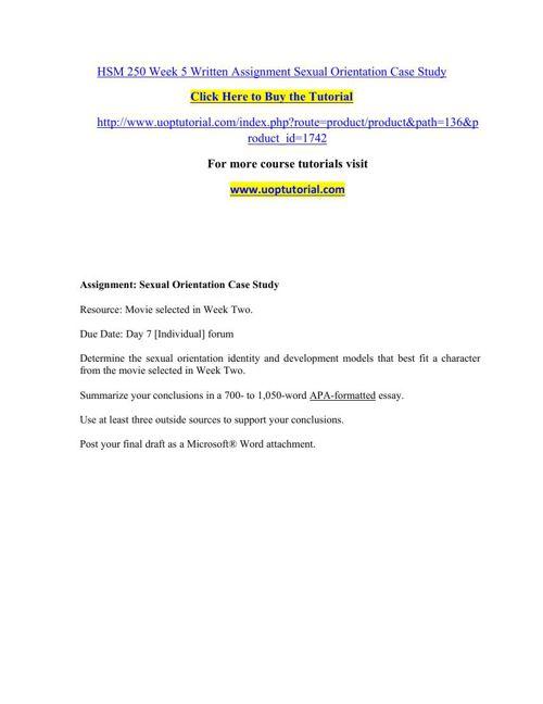 HSM 250 Week 5 Written Assignment Sexual Orientation Case Study