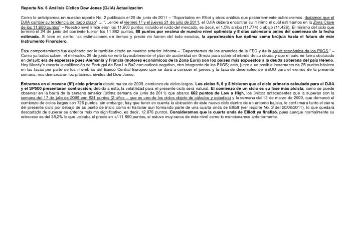 Reporte No. 6 - Análisis Cíclico Dow Jones (DJIA) Actualización
