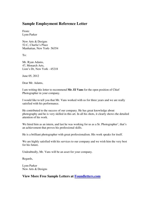 Sample Employment Reference Letter