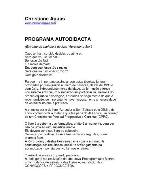 Programa autodidata Christiane Águas