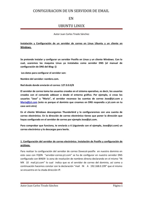 CONFIGURACION DE UN SERVIDOR DE EMAIL EN UBUNTU LINUX