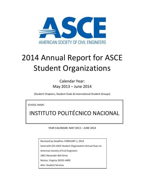 Reporte Anual ASCE-IPN-ISG 2013