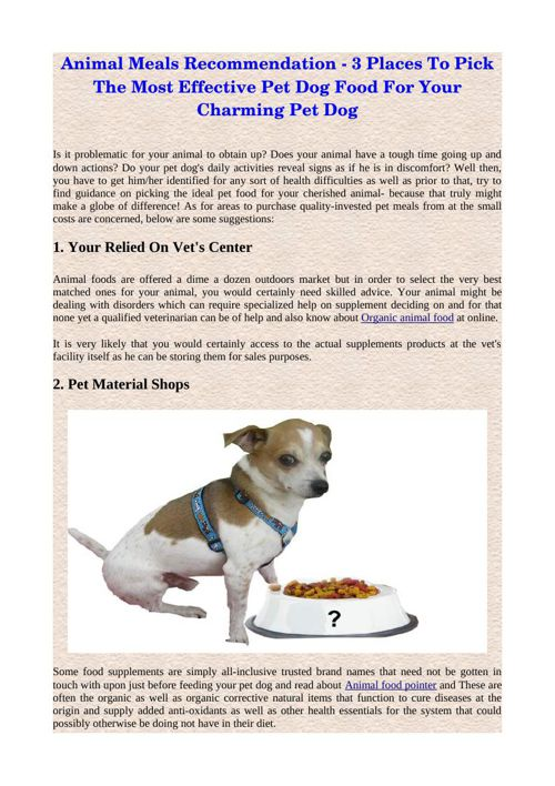 Animal Meals Recommendation - 3 Places To Pick The Most Effectiv