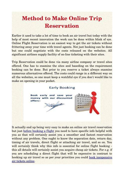 Method to Make Online Trip Reservation