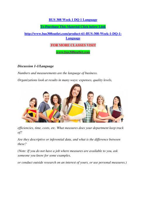 BUS 308 Week 1 DQ 1 Language
