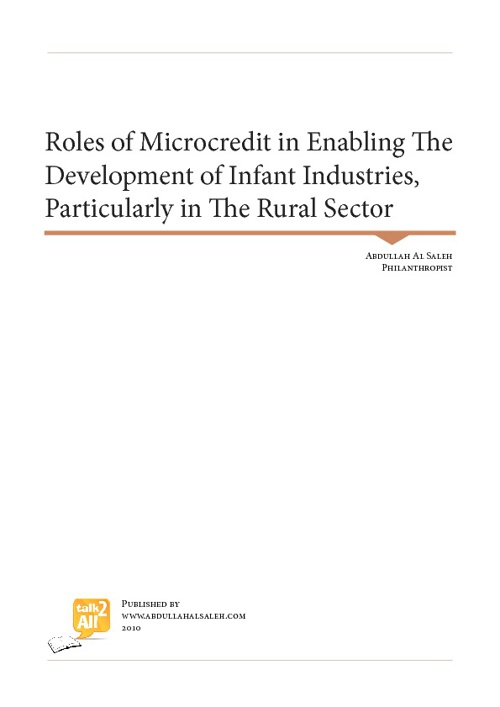 Roles of Microcredit in Enabling The Development of Infant Indus