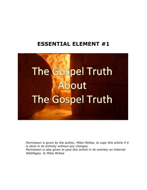 The Gospel Truth: Essential Element #1