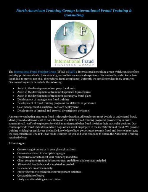 North American Training Group: International Fraud Training & Co