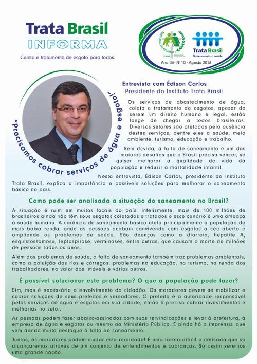 10ª Edição do Boletim Trata Brasil / Pastoral da Criança
