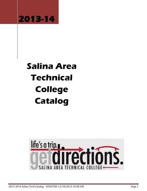SATC College Catalog 2013 - 14