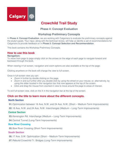 Crowchild Trail Study Phase 4 Concepts