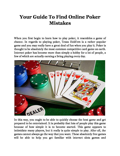 Your Guide To Find Online Poker Mistakes