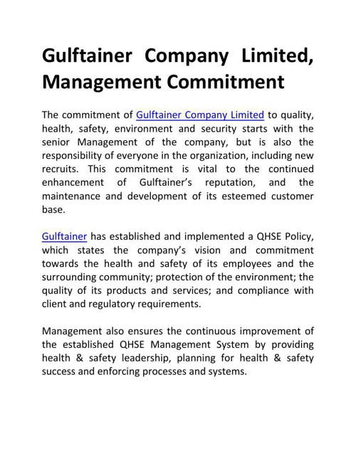 Gulftainer Company Limited, Management Commitment