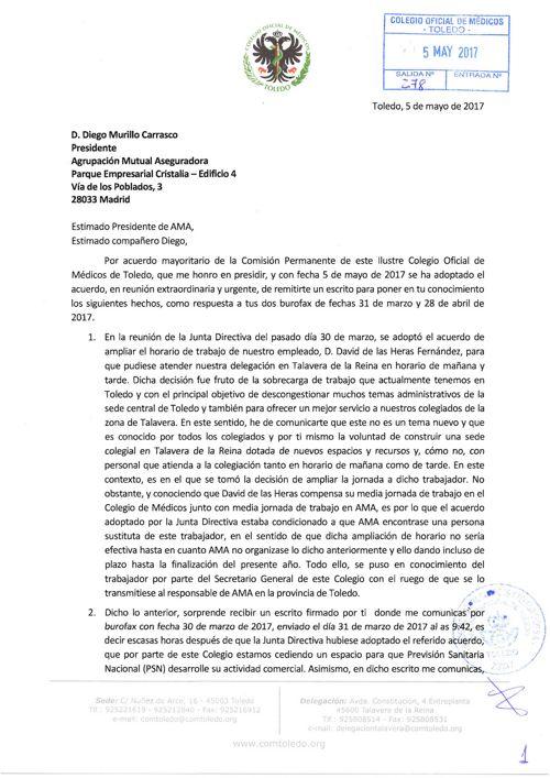 170505 Carta a AMA respuesta burofaxes 31.03.17 y 28.04.17