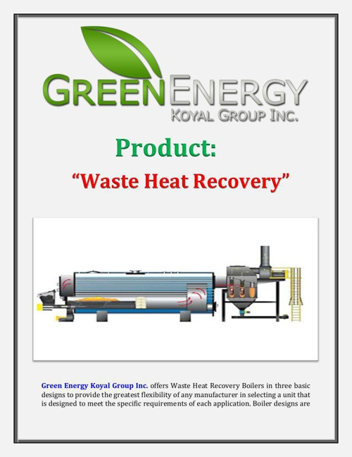 Green Energy Koyal Group Inc. - Product: Waste Heat Recovery