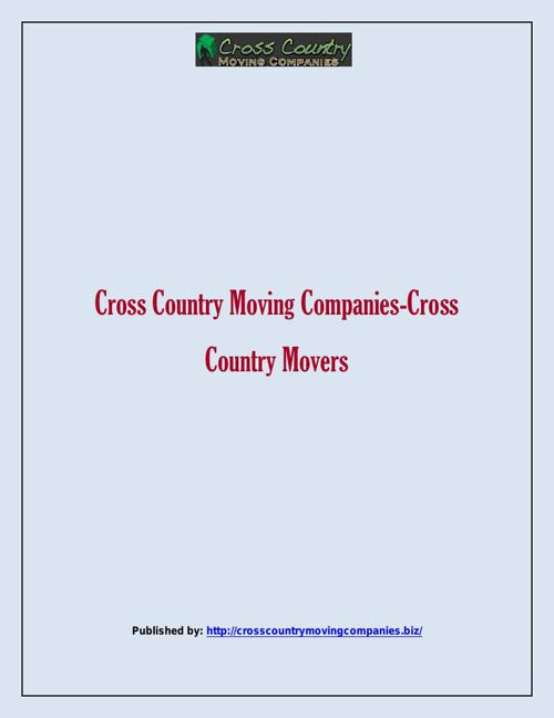 Cross Country Moving Companies-Cross Country Movers