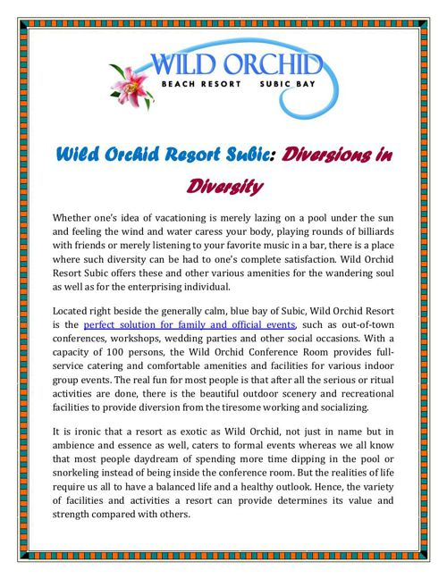 Wild Orchid Resort Subic: Diversions in Diversity
