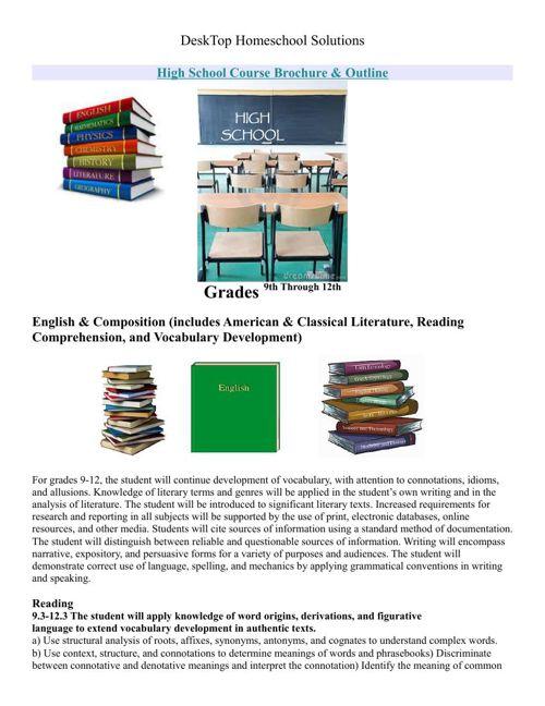 DeskTop High School Course Brochure