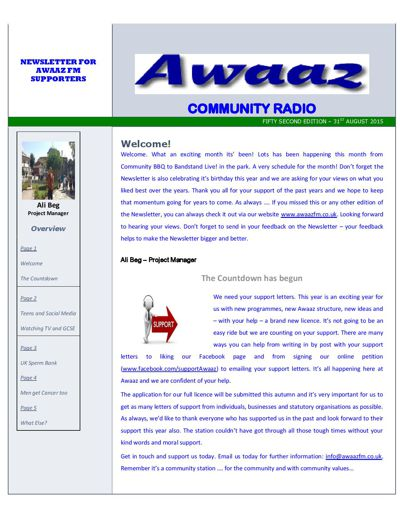 Awaaz Newsletter - August 2015