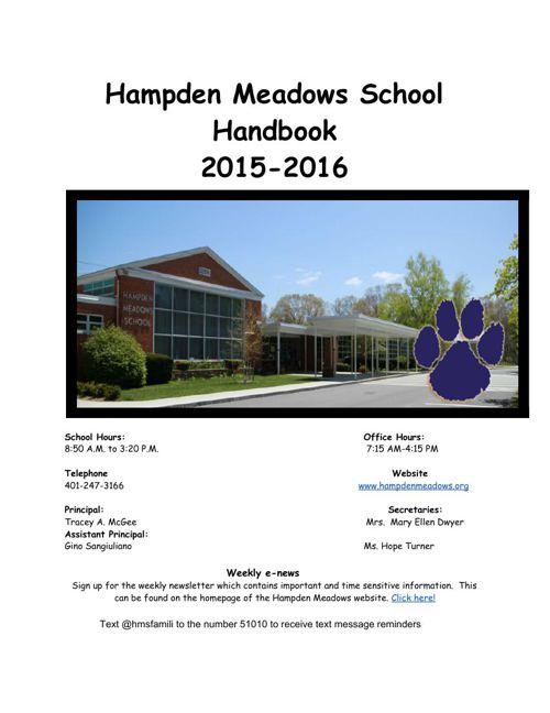 2015-2016 Hampden Meadows Handbook