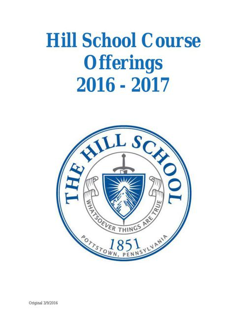Hill School Course Offerings 2016-17 (updated)