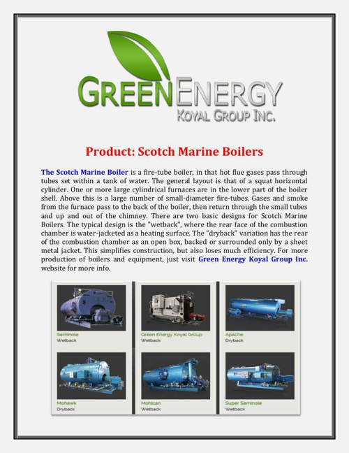 Green Energy Koyal Group Inc - Product: Scotch Marine Boilers
