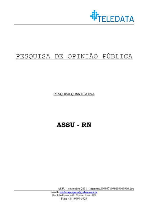 Pesquisa Teledata novembro2011