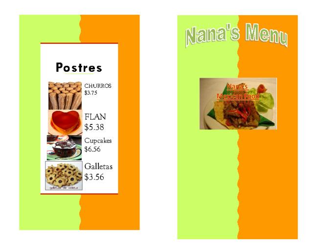 Nana's menu(Paola)