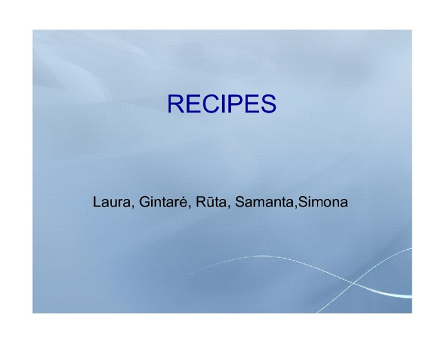 RECIPE BOOK OF OUR FAMILIES