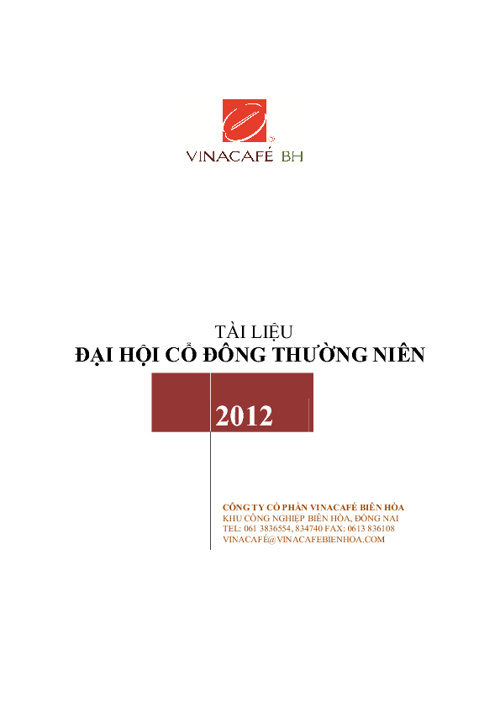 Tài liệu Đại hội Cổ đông thường niên 2012 - Vinacafé Biên Hòa