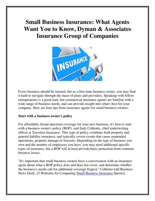 Small Business Insurance: What Agents Want You to Know, Dyman &