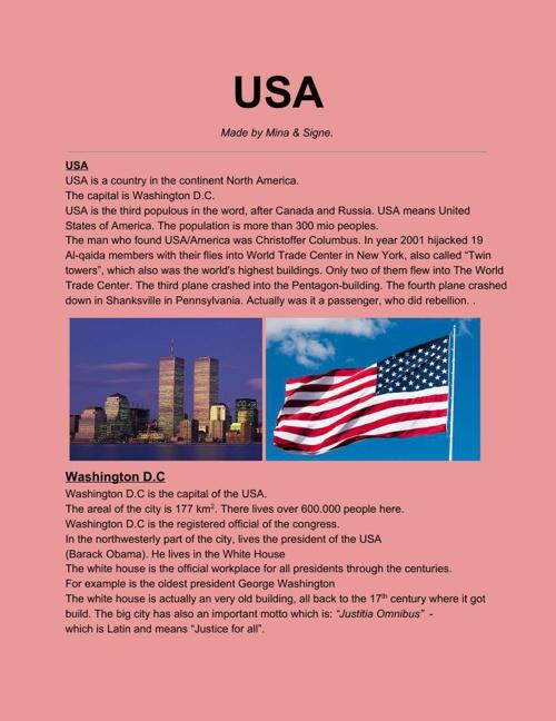 USA • ENGELSK • MINA&SIGNE8A.