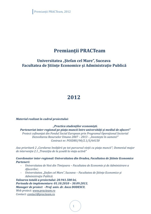PRACTeam - Volum prezentare Premianți Suceava, 2012