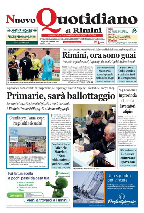 Nuovo Quotidiano di Rimini del 26 novembre 2012