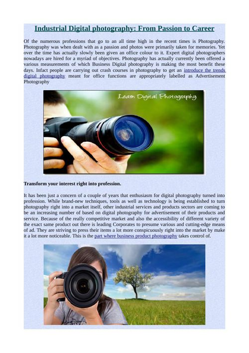 Industrial Digital photography: From Passion to Career