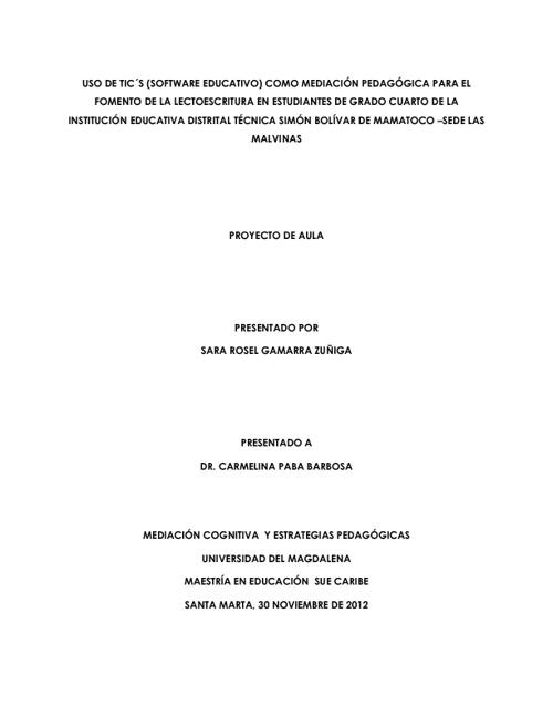PROYECTO DE MEDIACION USO DE TICS